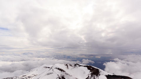 Billowing clouds over Etna. Sicily, Italy. Time La Footage