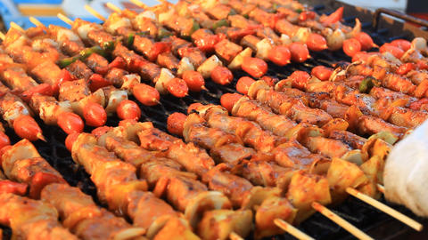 Kebabs On Barbecue stock footage