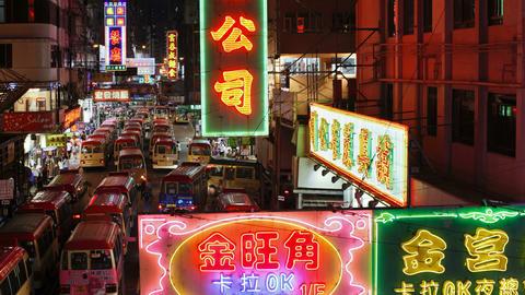 Elevated street scene in Monk kok, Kowloon, Hong K Footage
