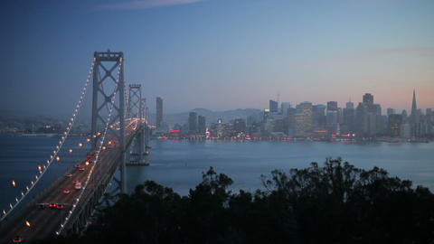 City skyline and Bay Bridge from Treasure Island,  Footage