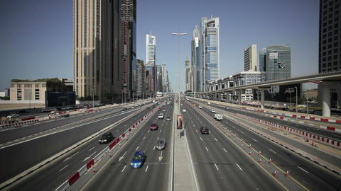 Sheikh Zayed Rd, traffic and new high rise buildin Footage