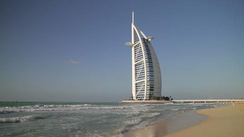Burj Al Arab Hotel, Dubai, United Arab Emirates, M stock footage