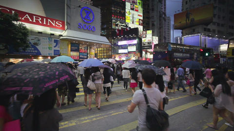 Busy Market Street, Wan Chai, Central District, Ho Footage