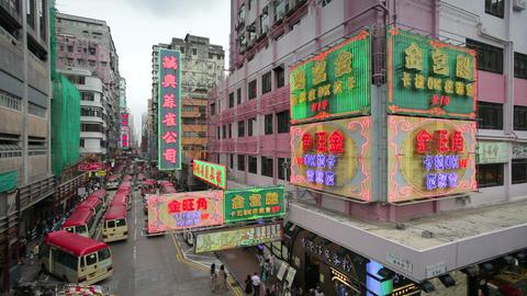 Street scene, Mini bus station and Neon lights of  Footage