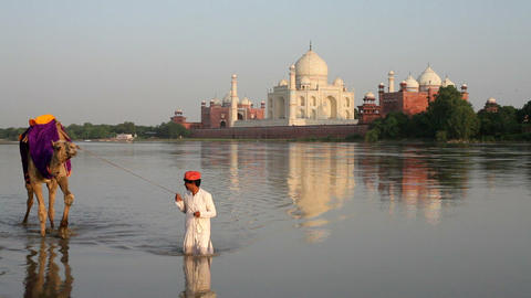 Taj Mahal, UNESCO World Heritage Site, across the  Footage