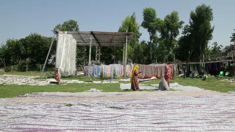 Newly dyed fabric being hung up to dry, Sari garme Footage
