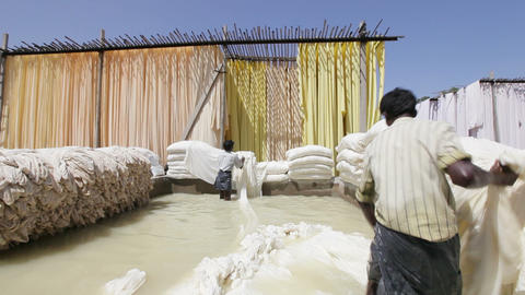 Bleaching Pool In A Sari Garment Factory, Rajastha stock footage