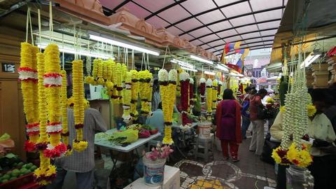 Little India, flower market on Jalan Tun Sambantha Footage