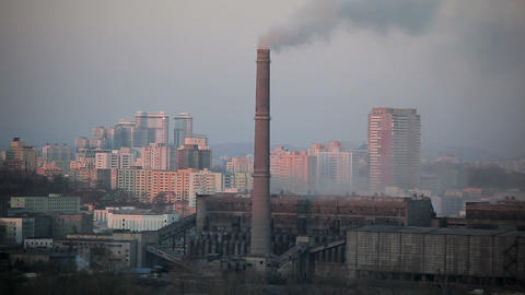 Pyongyang, Coal Fired Power Plant Factory Chimneys stock footage