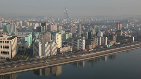 North Korea, Pyongyang, Elevated View Of The City  stock footage