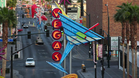 Las Vegas, Downtown, Freemont East Area, Neon Vega Footage