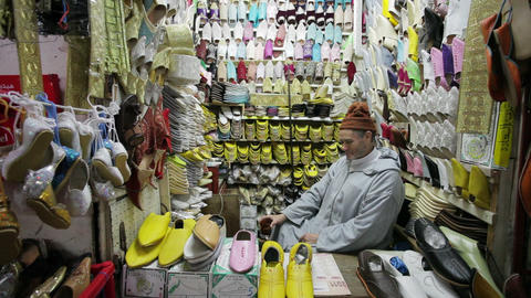 Soft Leather Moroccan Slippers In The Souk, Medina stock footage