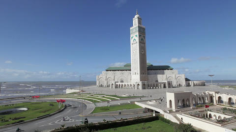 Hassan II Mosque, the third largest mosque in the  Footage
