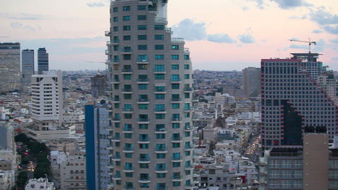 Tel Aviv, elevated dusk view of the city beachfron Footage