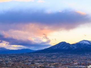 Mount Vesuvius. Dawn Over Naples. Time Lapse. 320x stock footage