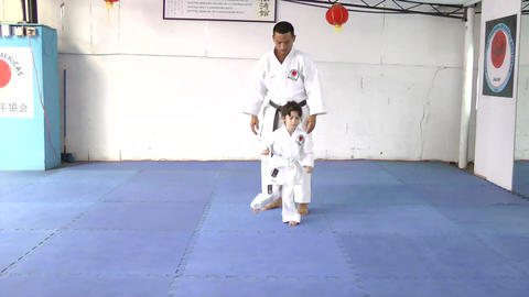 Caucasian Girl At Karate Practice stock footage