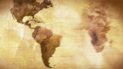 Vintage Grunge World Map Animation stock footage