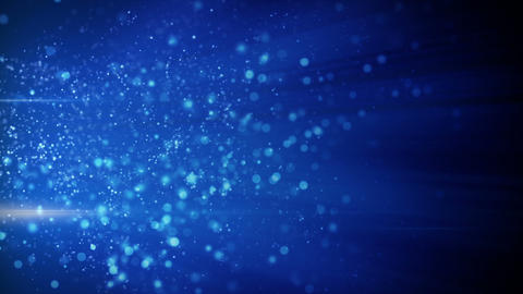 springing blue particles in light beams loop Animation