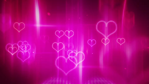 Glowing Neon Hearts Loop Background stock footage