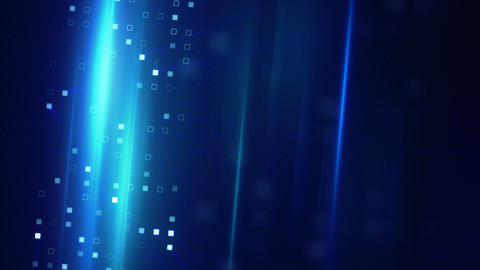 blue squares and light stripes techno background Animation