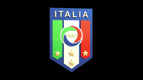 3D Italy Team Badge Rotating Matte & Fill stock footage