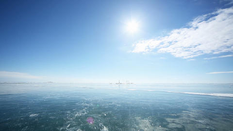 Panorama on the ice forward and backward Footage