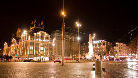 Dam Square at night. Amsterdam, The Netherlands. T Footage