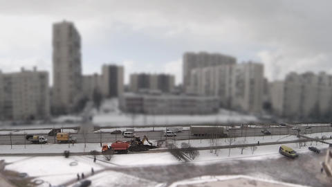 Construction Work In The Winter Time Lapse stock footage