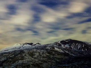 Milky Way above the volcano Etna. Time Lapse. 320x Footage
