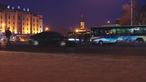 Harbin Night Street Traffic 03 Stock Video Footage