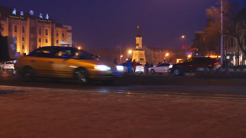 Harbin Night Street Traffic 03 stock footage