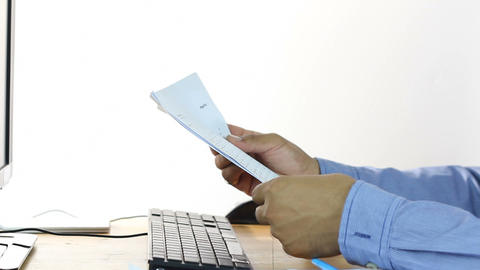 Businessman Working With Document stock footage
