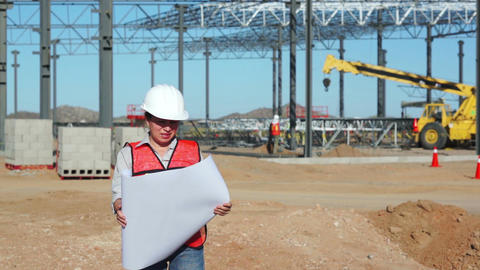 Female Civil Engineer On Jobsite stock footage
