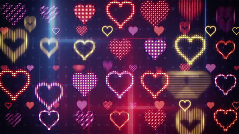 Twitching Glowing Heart Shapes Loopable Background stock footage