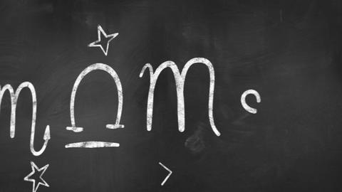 Drawing Zodiac Symbols On Blackboard Loop stock footage