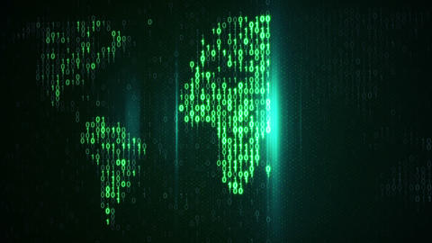 Scan Green Digital World Loop Background stock footage