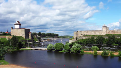 Fortress Narva And Ivangorod Fortress stock footage