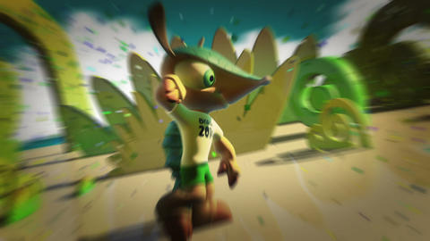 Fuleco Official Mascot 2014 FIFA World Cup Brazil stock footage