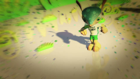 Fuleco Mascot 2014 FIFA World Cup Brazil 動画素材, ムービー映像素材