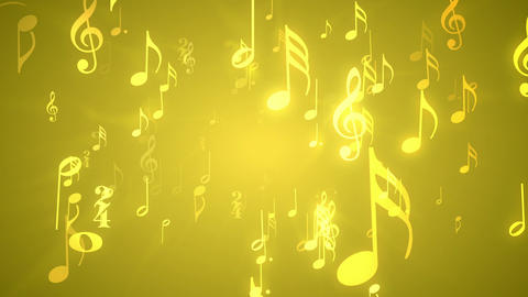 Musical Notes Gold - Music Themed Video Background CG動画素材
