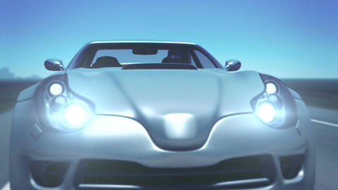 "Silver Sports Car (with ""success"" plate & flares) Animation"