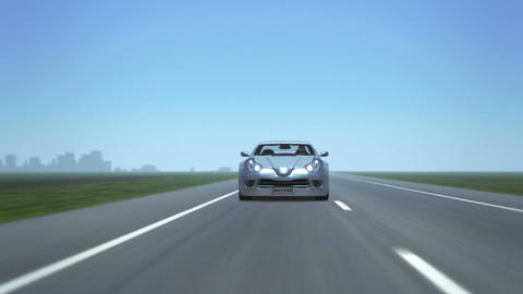 """Silver Sports Car (front, with """"success"""" plate) Animation"""