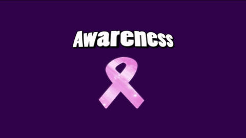 Word Awareness With Pink Ribbon Animated On Purple stock footage