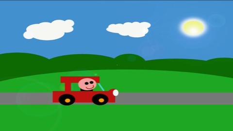 Smiling Man Driving in Sunshine Cartoon HD Animation