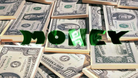 Word Money with flying Dollars inside animated on  Animation