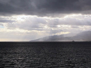 Clouds Over Strait Of Messina. Italy. 320x240 stock footage