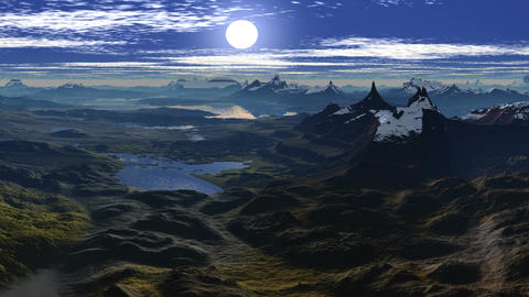Sun sets between two peaks Animation