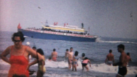 Crowded Beach In Florida 1967 Vintage 8mm Film stock footage