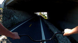 Bicycle Riding Bikeway Under 405 Freeway stock footage