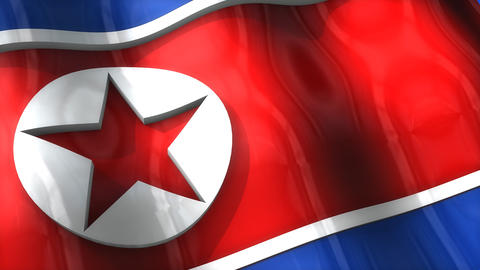 3D flag, North Korea Animation